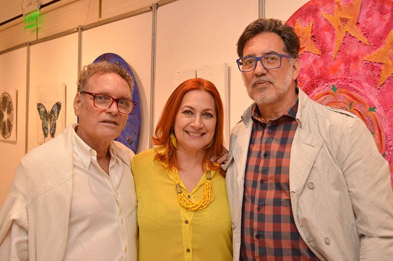 Osvaldo Carmperchioli, Cristina Paoli y Félix Toranzos (der), los artistas que presentarán sus obras en Fusión Restó.