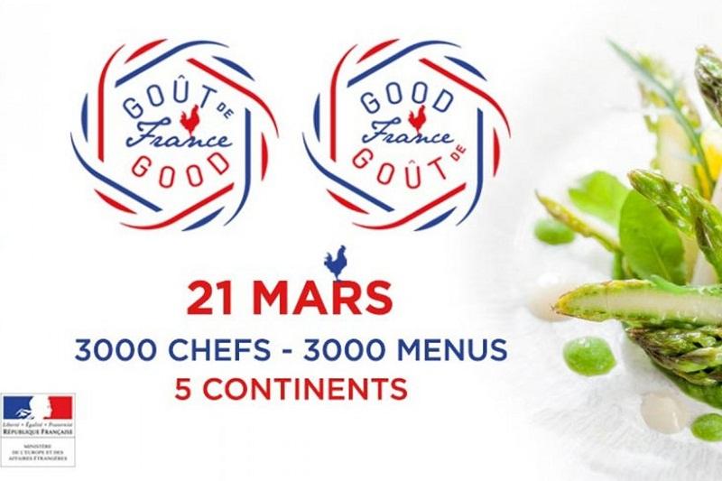 Afiche oficial alusivo al día en que en todo el mundo se rendirá homenaje a la cocina de Francia. Aquí se extenderá toda la semana.