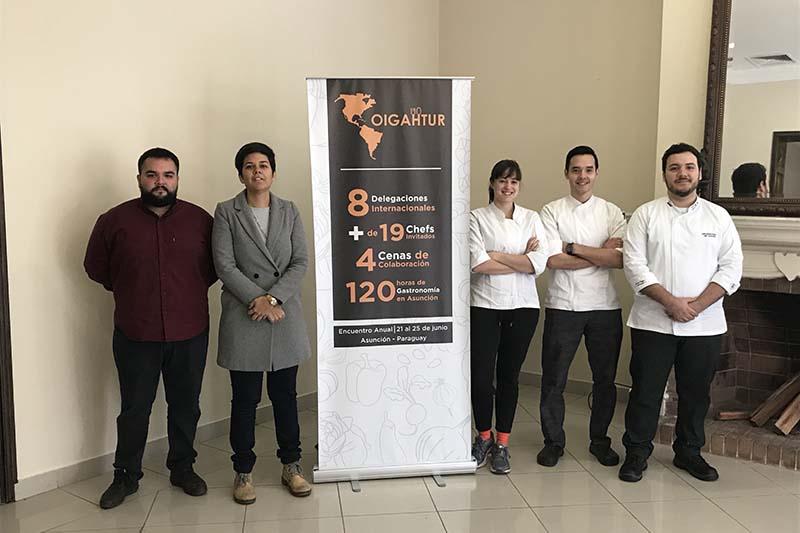 Sergio González, Arami O´Hara, Sofia Pfannl, Hugo Cabllero y Jorge Cardozo Echauri durante la presentación del encuentro de la gastronomía latinoamericana que habrá en nuestra ciudad.