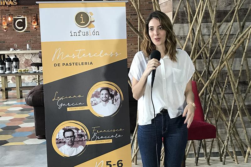 Lari Areco anunciando la realización de Infusión que contará con la participación de dos jóvenes y destacados pasteleros extranjeros.