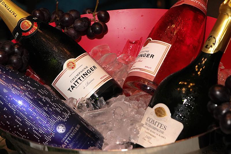 Las cuatro etiquetas de Taittinger, el gran champagne francés de Reims, que fueron degustadas en el restaurante Josephine.