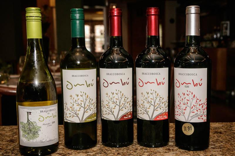 Bracco Bosca eligió la palabra Ombú como etiqueta de sus vinos. De izquierda a derecha: el Moscatel, el Sauvignon Blanc, el Tannat clásico, el tannat blend y el tannat Reserva.